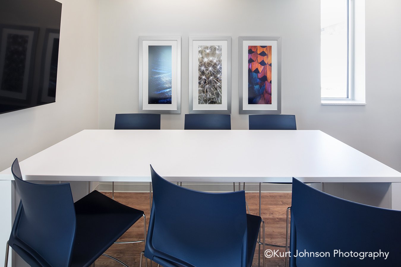 silver frame framed art install installation wall feather texture water staff breakroom room table chairs methodist physicians clinic elkhorn nebraska best care positive distraction patient outcomes