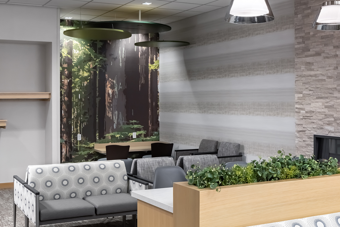 Fairview health services river falls WI Wisconsin BDH Koroseal large scale wallcovering custom vector children chidlren's graphic green tree trees branches forest canopy fort waiting lobby positive distraction children's hospital art biophilic design