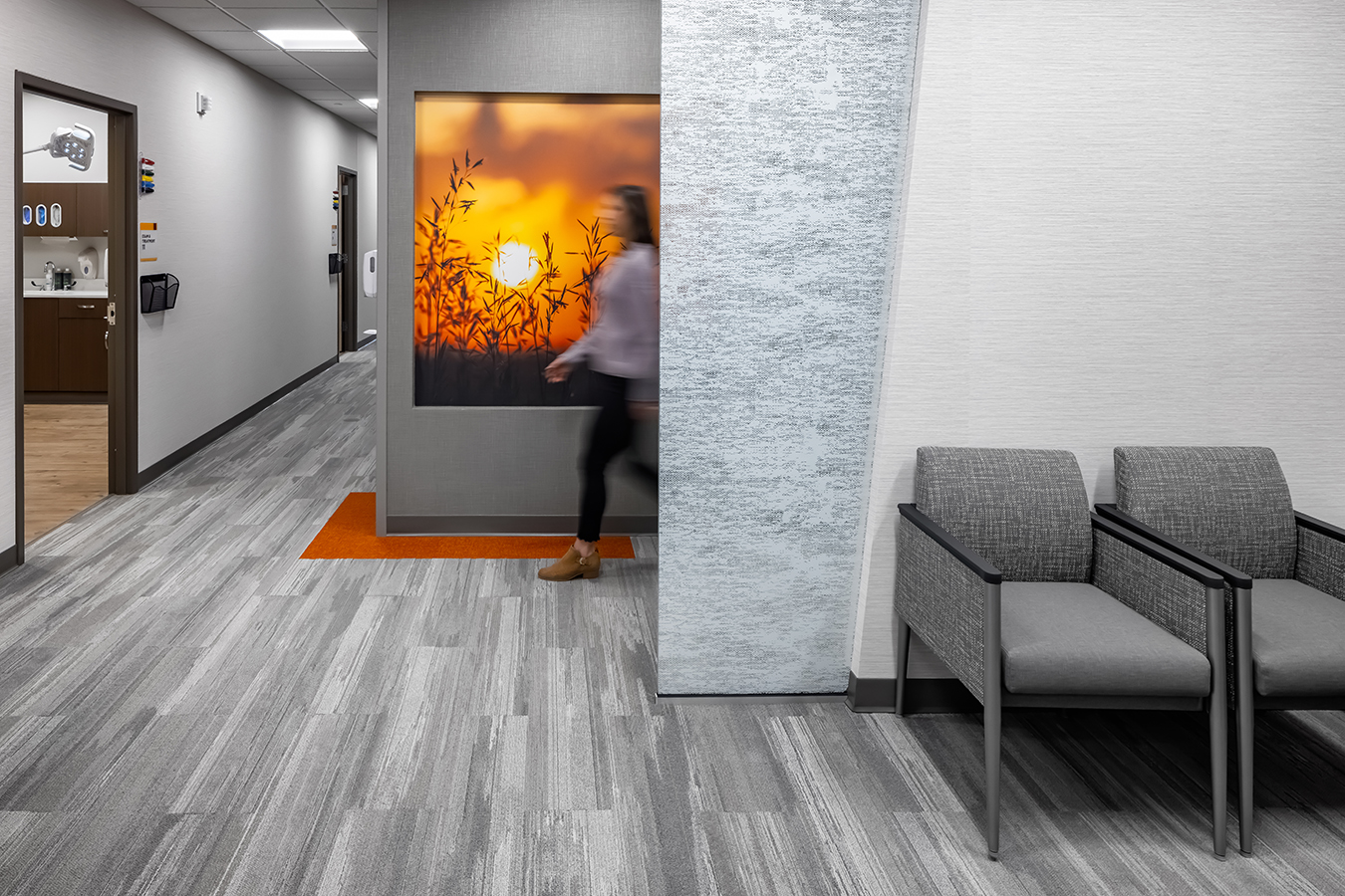Fairview health services river falls WI Wisconsin BDH Koroseal large scale wallcovering graphic mural orange grass grasses sunset sunrise landscape hall hallway corridor