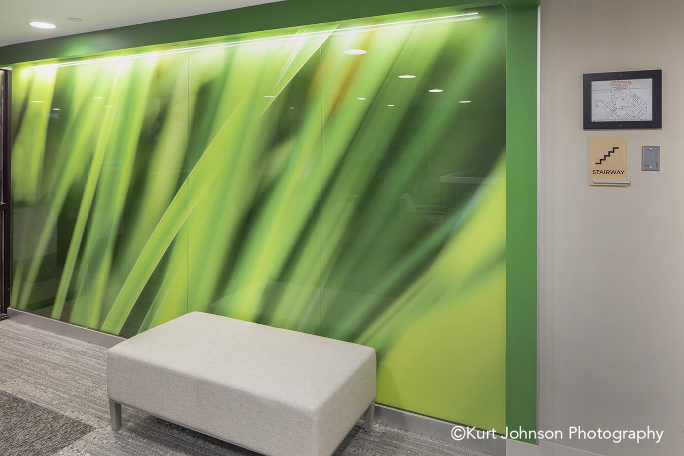 green grass grasses landscape install glass lobby waiting installation Allina Health United Healthcare John Nasseff Medical Center atrium InVision Glass Design
